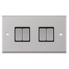 Selectric 7M-Pro Satin Chrome 4 Gang 10A 2 Way Switch with Black Insert 7MPRO-204