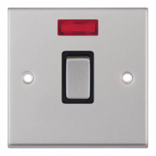 Selectric 7M-Pro Satin Chrome 1 Gang 20A DP Switch with Neon and Black Insert 7MPRO-216