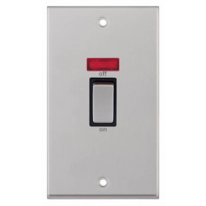 Selectric 7M-Pro Satin Chrome 2 Gang 45A DP Switch with Neon and Black Insert 7MPRO-218