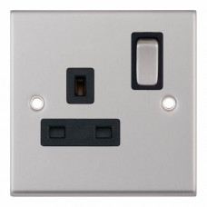 Selectric 7M-Pro Satin Chrome 1 Gang 13A DP Switched Socket with Black Insert 7MPRO-221