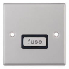 Selectric 7M-Pro Satin Chrome 13A Fused Connection Unit with Black Insert 7MPRO-227