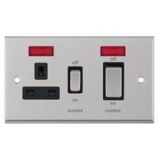Selectric 7M-Pro Satin Chrome 45A DP Switch and 13A Switched Socket with Neon and Black Insert 7MPRO-231
