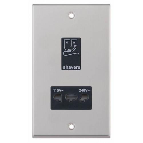 Selectric 7M-Pro Satin Chrome 115/230V Dual Voltage Shaver Socket with Black Insert 7MPRO-232