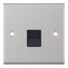 Selectric 7M-Pro Satin Chrome 1 Gang Telephone Master Socket with Black Insert 7MPRO-238