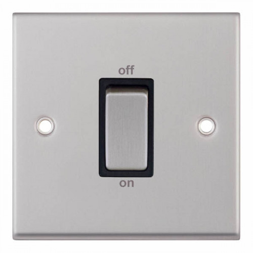 Selectric 7M-Pro Satin Chrome 1 Gang 45A DP Switch with Black Insert 7MPRO-247