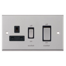 Selectric 7M-Pro Satin Chrome 45A DP Switch and 13A Switched Socket with Black Insert 7MPRO-249