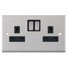Selectric 7M-Pro Satin Chrome 2 Gang 13A Switched Socket with Black Insert 7MPRO-251