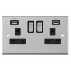 Selectric 7M-Pro Satin Chrome 2 Gang 13A Switched Socket with USB Outlet and Black Insert 7MPRO-261