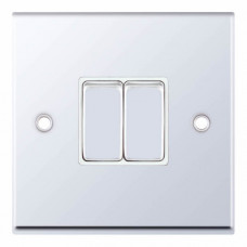 Selectric 7M-Pro Polished Chrome 2 Gang 10A 2 Way Switch with White Insert 7MPRO-302