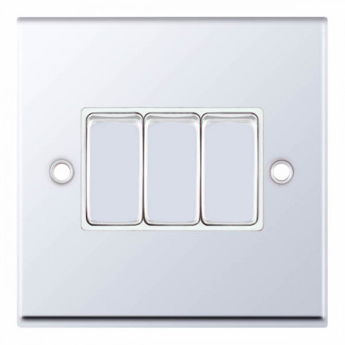 Selectric 7M-Pro Polished Chrome 3 Gang 10A 2 Way Switch with White Insert 7MPRO-303