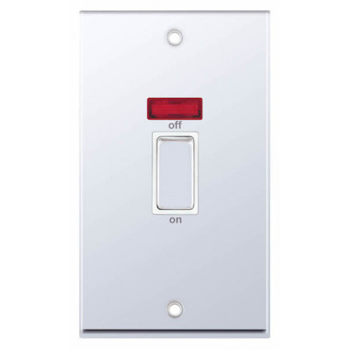 Selectric 7M-Pro Polished Chrome 2 Gang 45A DP Switch with Neon and White Insert 7MPRO-318