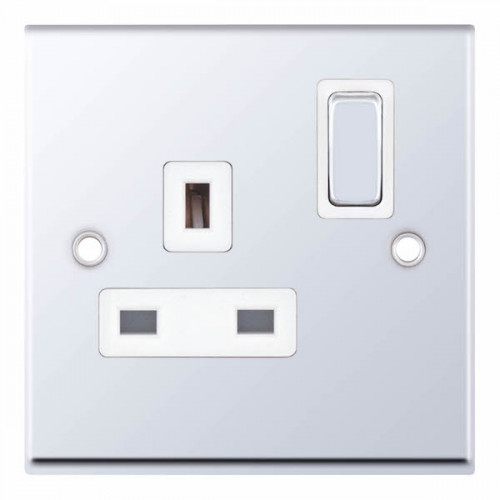 Selectric 7M-Pro Polished Chrome 1 Gang 13A DP Switched Socket with White Insert 7MPRO-321