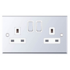 Selectric 7M-Pro Polished Chrome 2 Gang 13A DP Switched Socket with White Insert 7MPRO-322