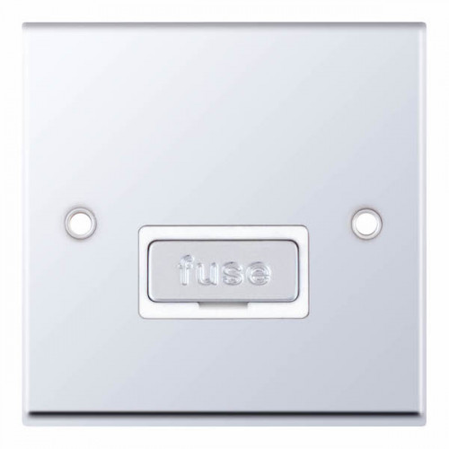 Selectric 7M-Pro Polished Chrome 13A Fused Connection Unit with White Insert 7MPRO-327