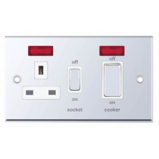 Selectric 7M-Pro Polished Chrome 45A DP Switch and 13A Switched Socket with Neon and White Insert 7MPRO-331