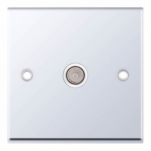 Selectric 7M-Pro Polished Chrome 1 Gang TV Socket with White Insert 7MPRO-333