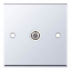Selectric 7M-Pro Polished Chrome 1 Gang Satellite Socket with White Insert 7MPRO-335
