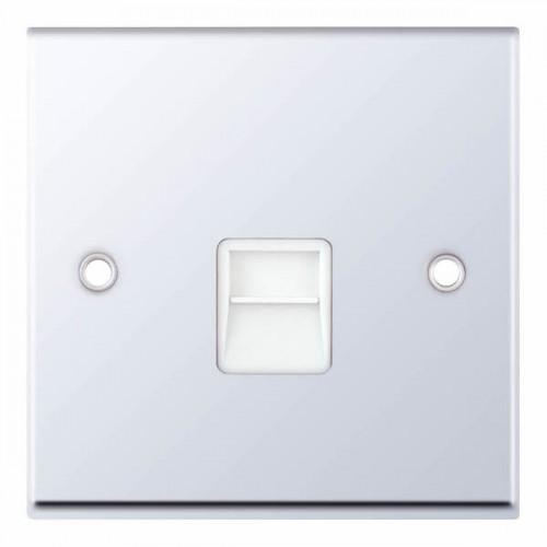 Selectric 7M-Pro Polished Chrome 1 Gang Telephone Master Socket with White Insert 7MPRO-338