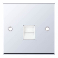 Selectric 7M-Pro Polished Chrome 1 Gang Telephone Secondary Socket with White Insert 7MPRO-339