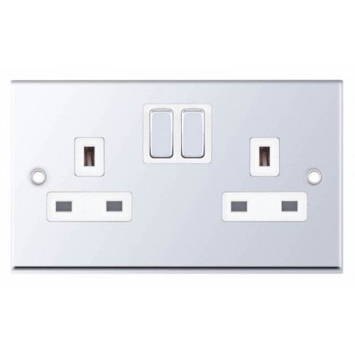 Selectric 7M-Pro Polished Chrome 2 Gang 13A Switched Socket with White Insert 7MPRO-351