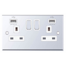 Selectric 7M-Pro Polished Chrome 2 Gang 13A Switched Socket with USB Outlet and White Insert 7MPRO-361