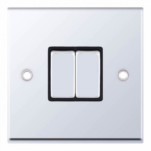 Selectric 7M-Pro Polished Chrome 2 Gang 10A 2 Way Switch with Black Insert 7MPRO-502