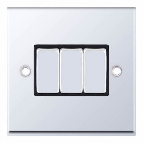 Selectric 7M-Pro Polished Chrome 3 Gang 10A 2 Way Switch with Black Insert 7MPRO-503