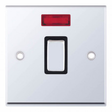Selectric 7M-Pro Polished Chrome 1 Gang 20A DP Switch with Neon and Black Insert 7MPRO-516