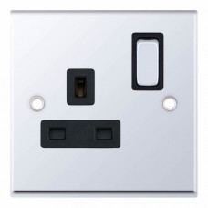 Selectric 7M-Pro Polished Chrome 1 Gang 13A DP Switched Socket with Black Insert 7MPRO-521