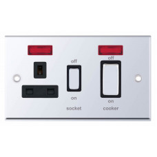 Selectric 7M-Pro Polished Chrome 45A DP Switch and 13A Switched Socket with Neon and Black Insert 7MPRO-531