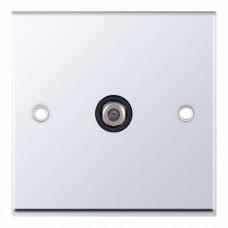 Selectric 7M-Pro Polished Chrome 1 Gang Satellite Socket with Black Insert 7MPRO-535