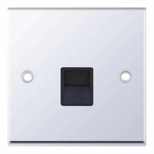 Selectric 7M-Pro Polished Chrome 1 Gang Telephone Master Socket with Black Insert 7MPRO-538