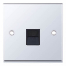 Selectric 7M-Pro Polished Chrome 1 Gang Telephone Secondary Socket with Black Insert 7MPRO-539