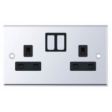 Selectric 7M-Pro Polished Chrome 2 Gang 13A Switched Socket with Black Insert 7MPRO-551