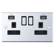 Selectric 7M-Pro Polished Chrome 2 Gang 13A Switched Socket with USB Outlet and Black Insert 7MPRO-561