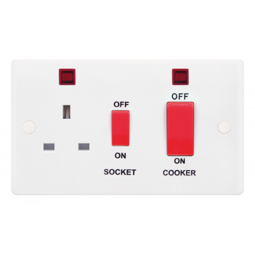 Selectric Smooth 45A DP Switch and 13A Switched Socket with Neon and Red Rockers SSL533