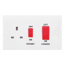 Selectric Smooth 45A DP Switch and 13A Switched Socket with Red Rockers SSL564