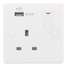 Selectric Smooth 1 Gang 13A Switched Socket with USB Outlet SSL579