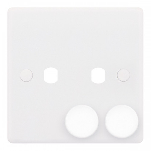 Selectric Smooth 1 Gang Twin Aperture Dimmer Plate with Matching Knobs SSL591