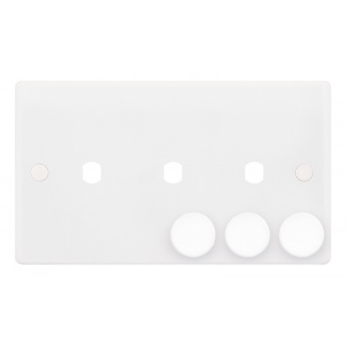 Selectric Smooth 2 Gang Triple Aperture Dimmer Plate with Matching Knobs SSL592