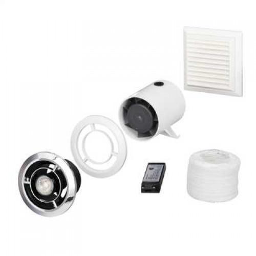 """Domus Ventilation 100mm 4"""" In-Duct LED Showerlight Fan Kit with Timer SPV802ETLED"""