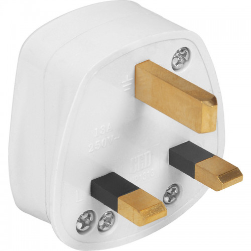 PLUG TOP 13A FUSED WHITE PVC